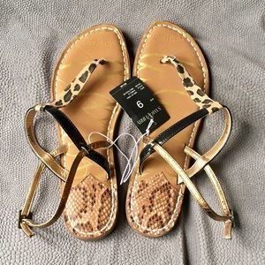 NWT Sam & Libby Leopard T-Strap Sandals